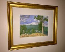 PIKES PEAK Original Hand Colored Artist Signed Print Ron Jeffrey Framed COLORADO