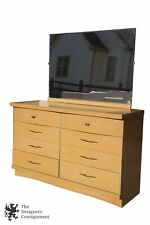 Vintage Bassett Furniture Chest Six Drawers Vanity Dresser with Mirror Bedroom