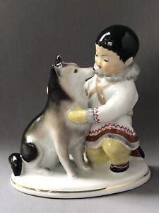 Vintage Lomonosov USSR Russia Russian Figurine Eskimo Inuit Boy and Husky Dog