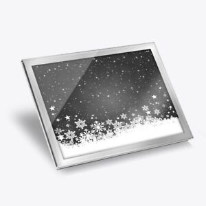 Glass Placemat 20x25 cm - BW - Christmas Scene Snowflakes  #42691