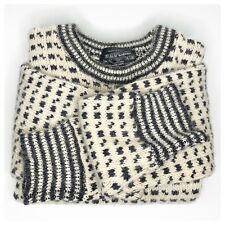 •DEVOLD• Vintage Wool Heavy Knit Cream Birdseye Norway Sweater Sz XL