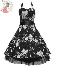SALE Hearts & Roses H&R 50's FLORAL rockabilly DRESS BLACK & WHITE UK 8 & 10