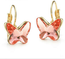 Genuine Swarovski Element Crystal Drop Rose Pink Butterfly Gold Plated Earrings