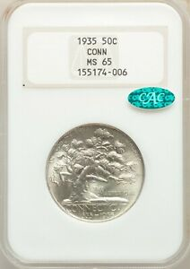 1935 CONNECTICUT NGC MS-65 CAC - Silver Classic Commemorative  - WHITE - dsx