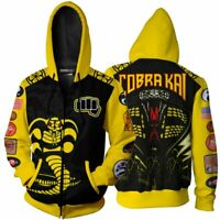 US Cobra Kai Karate Kid 3D Print Casual Sweatshirt Men Women Hoodie Zip Up Tops