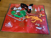Mickey & Minnie Mouse & Pluto Christmas Sleigh Bag/Tote ~ NWT~ Disney Store