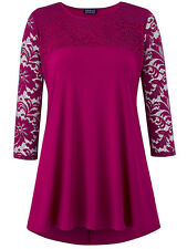 Grace MAGENTA Lace Panelled 3/4 Sleeve Tunic Top - Size 8 to 28 PARTY OCCASION