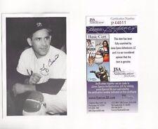 Yogi Berra Autographed New York Yankees HOFer Jim Rowe Postcard Photo JSA COA