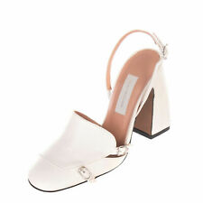 New L'Autre Chose Off-White Leather Slingback Block Heels Italy EU37 US6.5