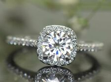 6mm Solitaire Moissanite Cushion Shape Halo Engagement Ring 14k White Gold Gp