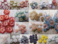Czech pressed flower glass flat beads 14 mm pack of 5 different colours