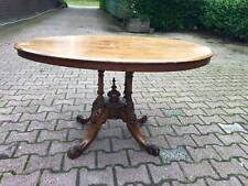 18th century English antique center table in brown wood with flowered details