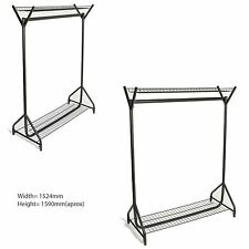 4ft Long X5ft High Heavy Duty White Color Clothes Garment Rails With Centre Bar 18 Inch Extension Pole Only