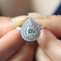 1.80ct Pear and Round Cut Diamond Double Halo Engagement Ring 14k White Gold