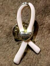 Enamel Ribbon silvertone Lapel Pin Avon Breast Cancer Awareness Pink