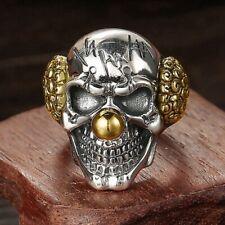 Men's Fashion Silver Gold Signet horror Clown Joker Skull Biker ring band R82