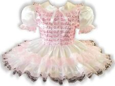 """Ashley"" CUSTOM FIT Lacy Satin Organza Adult Little Girl Sissy Dress LEANNE"