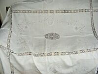 """VINTAGE EMBROIDERED CUTWORK CROCHETED LACE TABLECLOTH LINEN 100"""" X 66"""" ECRU"""
