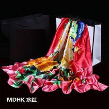 Women's Fashion Silk Satin Floral Long Scarf Wrap Shawl Beach Silk Scarves New