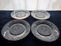 "Tiara Indiana Glass 4 Clear Sandwich 8 1/4"" Salad Luncheon Plates"