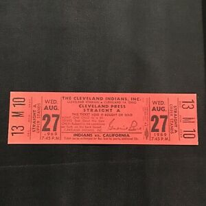 1969 Aug 27 Cleveland Indians California Angels Press Straight A full ticket stb