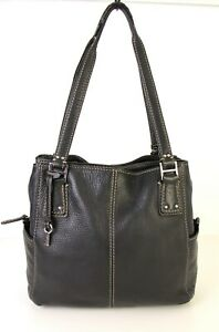 Fossil BLACK GENUINE LEATHER THREE COMPARTMENTS TOTE SATCHEL SHOULDER BAG PURSE