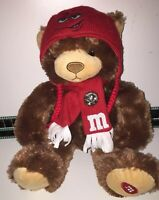 """M&M's World 15"""" Soft Plush Toy Bear With Red Scarf & Hat M&M Merchandise VGC"""