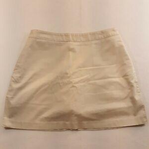 Adidas Women Size 10 Waist 30 Stretch Golf Golfer Skirt Skort Logo Beige L17