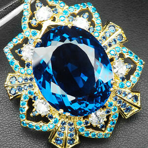 Topaz Swiss Blue Pear 60.20Ct.Sapp Apatite 925 Sterling Silver Gold Pendant Gift