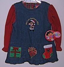 Dora The Explorer Denim Dress Christmas Holiday Nick Jr Santa 2 Pc Girls 12 Mo