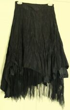 FILO Black Gypsy SKIRT  Kerchief & Tulle hem Lined NEW!  27W ~ Women sz S / 6