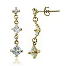 Gold Tone over Sterling Silver Cubic Zirconia Square Shape Drop Dangle Earrings