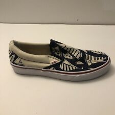 Vans Mens White Nautical With Blue Designs Size 9.5