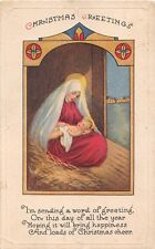 Lovely Madonna & Christ Child in Stable-Old Art Deco Religious Christmas PC