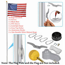 """New listing Flag Pole Parts Repair Kit 2"""" Diameter Truck Pulley Gold Ball Cleat Clips ~ ~"""