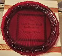 "BEAUTIFUL AVON 1876 CAPE COD COLLECT RUBY RED GLASS 10 3/4"" DINNER PLATE W/ Box"