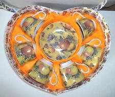 China Tea Coffee Set Fruit Design - 6 cups w Saucers Heart Shape Gift Box - New