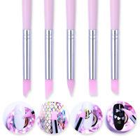 5Pcs BORN PRETTY Silicone Nail Art Design Stamp Pen Brush UV Gel Carving Craft