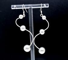 """Large 2.75"""" Modernist Swirl """"S"""" Hollow Beaded 925 Sterling Silver Hook Earrings"""