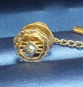 Art Deco Design Diamond 14k White / Yellow 2-tone Gold Tie Tack / Pin For Unisex