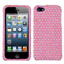 iPHONE SE 5S - DIAMOND BLING HARD PROTECTOR CASE COVER PINK SILVER POLKA DOTS