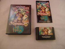 Taz-Mania  (Sega Genesis, 1992) COMPLETE w/ Box manual game WORKS! Tazmania Taz