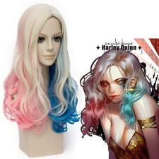 Cosplay Suicide Squad Harley Quinn Curly Hair Costume Wig Pink Blue Gradient