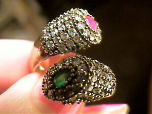 NATURAL ruby emerald SAPPHIRE DUO RING 7 STERLING 925 SILVER yellow EXOTIC NICE
