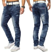 Herren Denim Used-Look Waschung Jeans Hose stretch Knopfleiste Regular Fit
