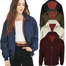 New Women Classic HARRINGTON Retro Scooter Vintage Bomber Jacket Coat: Size S-XL