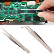 Set 2 mini pinze acciaio pinzette di pecisione per elettronica bricolage faidate