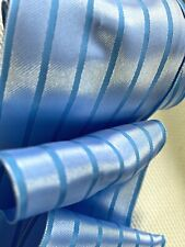 """Vintage Ribbon 2 5/8"""" Satin Wire Two Tone Blue Stripe 1yd Made in France"""