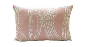Pink Mother Of Pearls 12x14 inch Silk Lumbar Oblong Pillow Cover - Angelic Soft
