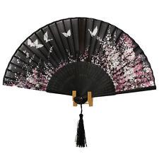 """SILK HAND FAN black  8"""" Folding Pocket Purse Asian black  Floral Flowers"""